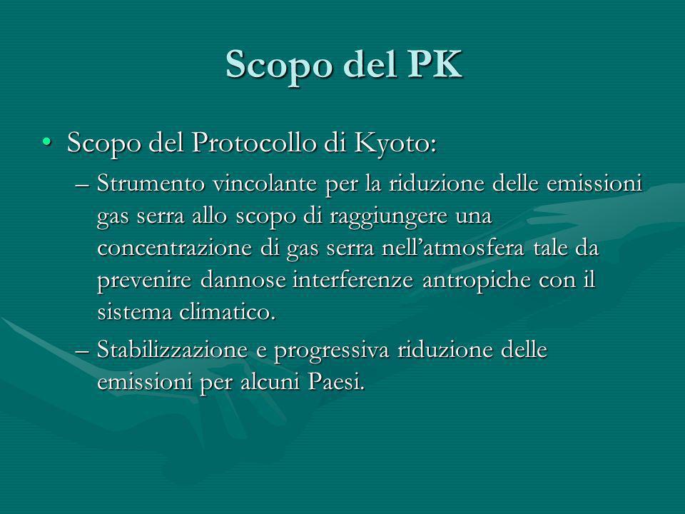 Scopo del PK Scopo del Protocollo di Kyoto:Scopo del Protocollo di Kyoto: –Strumento vincolante per la riduzione delle emissioni gas serra allo scopo
