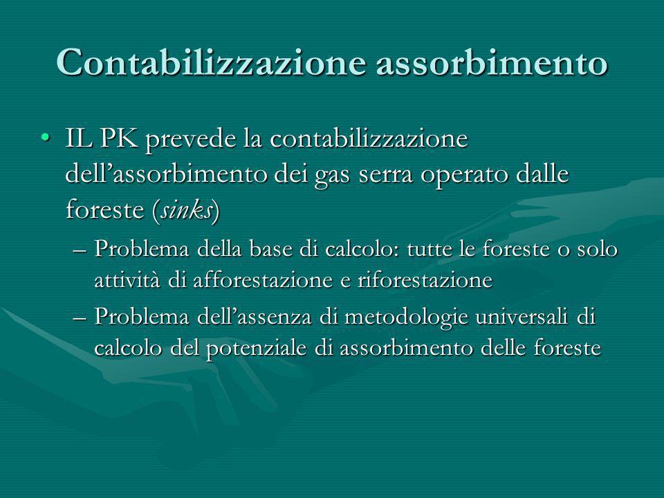 Contabilizzazione assorbimento IL PK prevede la contabilizzazione dellassorbimento dei gas serra operato dalle foreste (sinks)IL PK prevede la contabi
