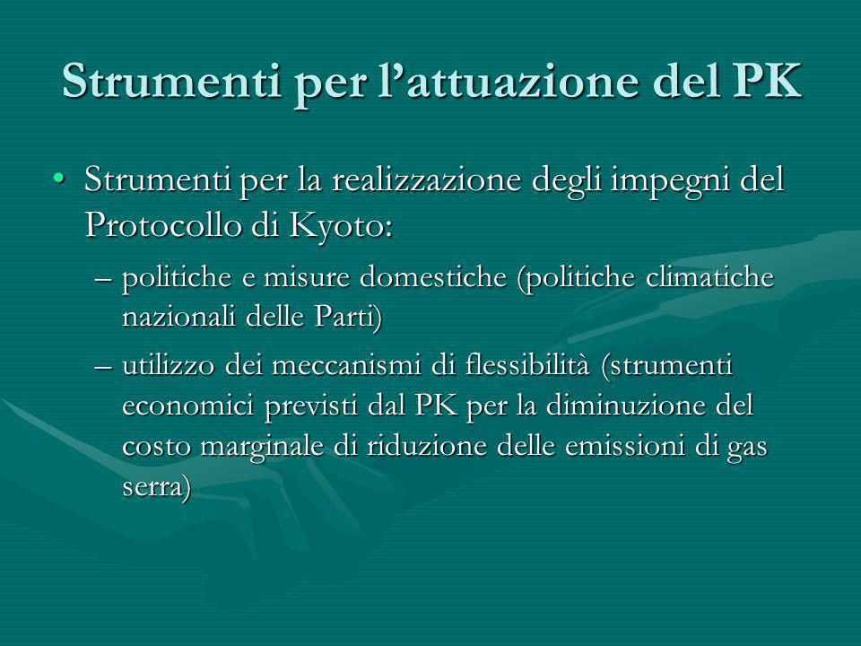 Strumenti per lattuazione del PK Strumenti per la realizzazione degli impegni del Protocollo di Kyoto:Strumenti per la realizzazione degli impegni del