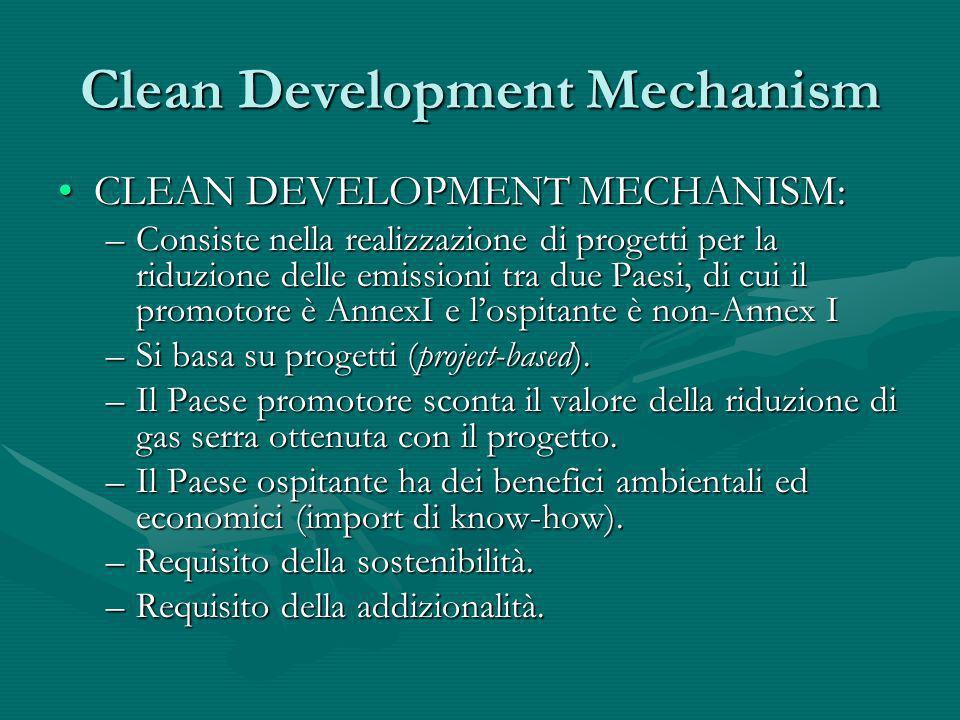 Clean Development Mechanism CLEAN DEVELOPMENT MECHANISM:CLEAN DEVELOPMENT MECHANISM: –Consiste nella realizzazione di progetti per la riduzione delle