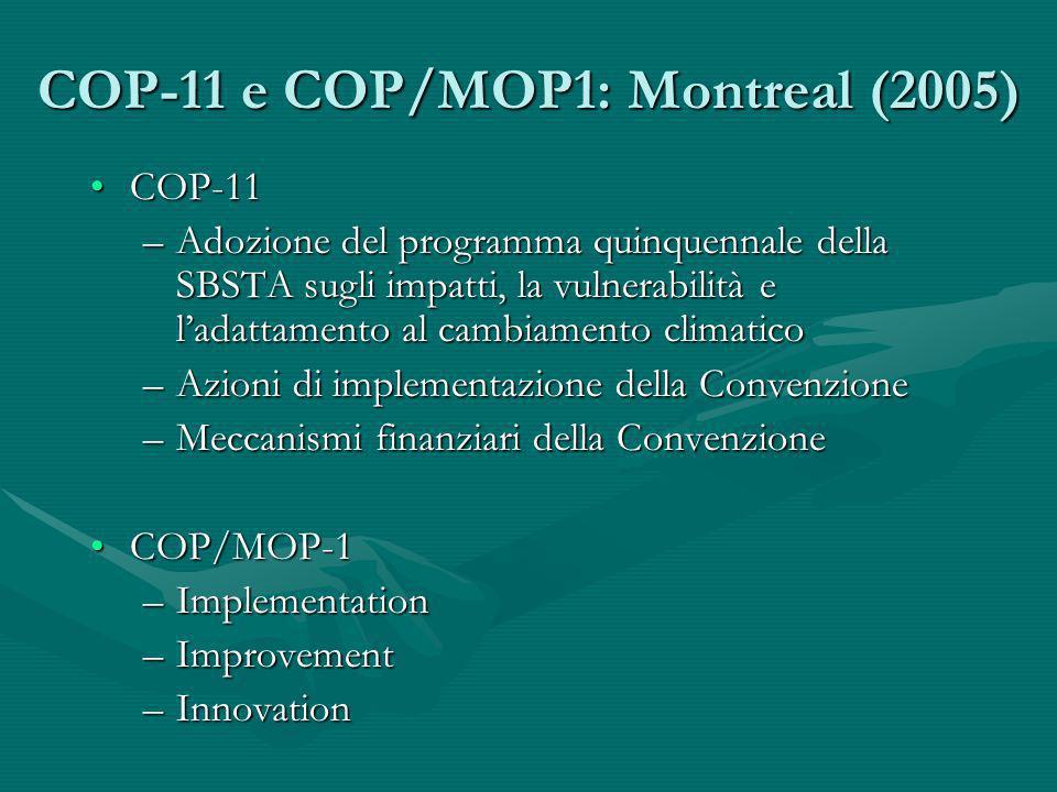COP-11 e COP/MOP1: Montreal (2005) COP-11COP-11 –Adozione del programma quinquennale della SBSTA sugli impatti, la vulnerabilità e ladattamento al cam