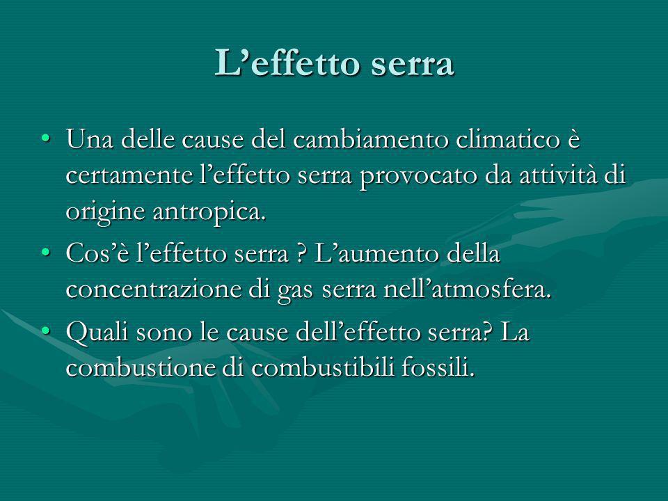 Leffetto serra Una delle cause del cambiamento climatico è certamente leffetto serra provocato da attività di origine antropica.Una delle cause del ca