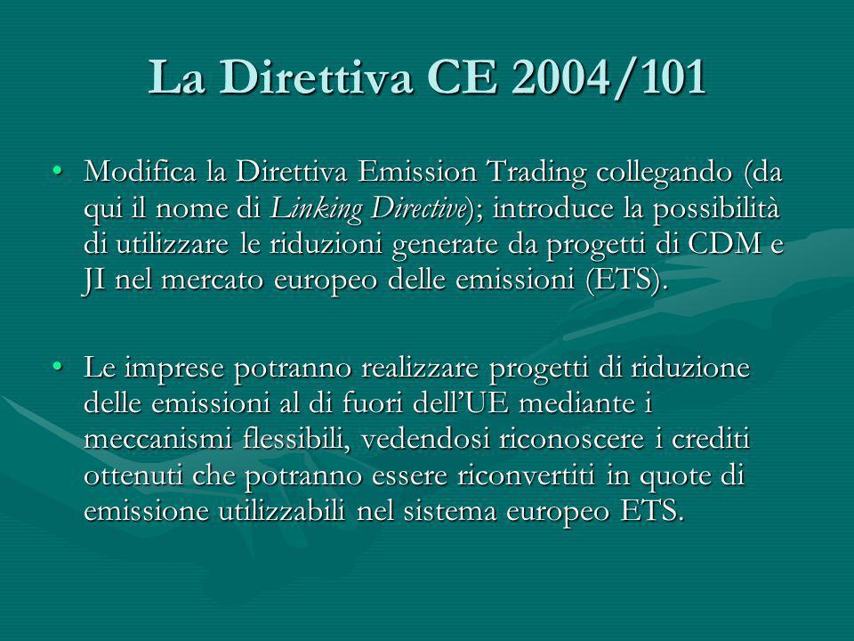 La Direttiva CE 2004/101 Modifica la Direttiva Emission Trading collegando (da qui il nome di Linking Directive); introduce la possibilità di utilizza