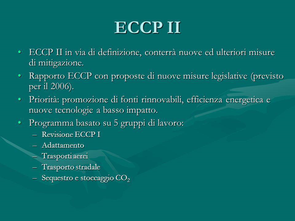 ECCP II ECCP II in via di definizione, conterrà nuove ed ulteriori misure di mitigazione.ECCP II in via di definizione, conterrà nuove ed ulteriori mi