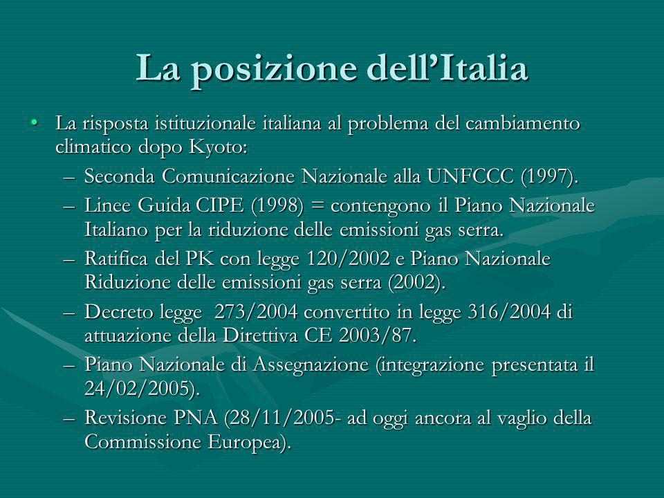 La posizione dellItalia La risposta istituzionale italiana al problema del cambiamento climatico dopo Kyoto:La risposta istituzionale italiana al prob