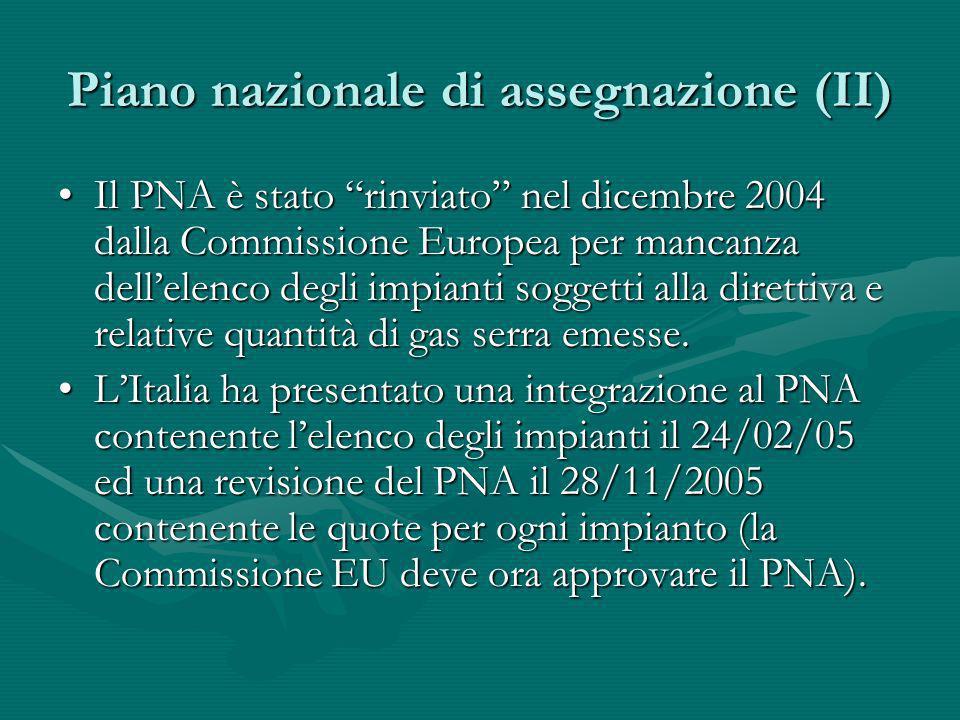 Piano nazionale di assegnazione (II) Il PNA è stato rinviato nel dicembre 2004 dalla Commissione Europea per mancanza dellelenco degli impianti sogget