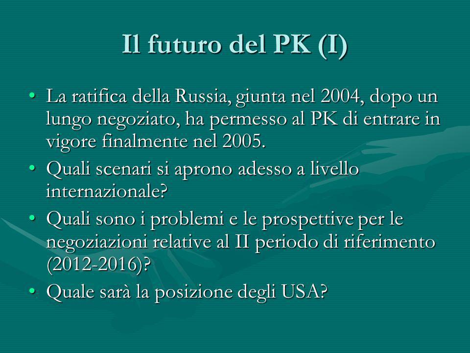 Il futuro del PK (I) La ratifica della Russia, giunta nel 2004, dopo un lungo negoziato, ha permesso al PK di entrare in vigore finalmente nel 2005.La
