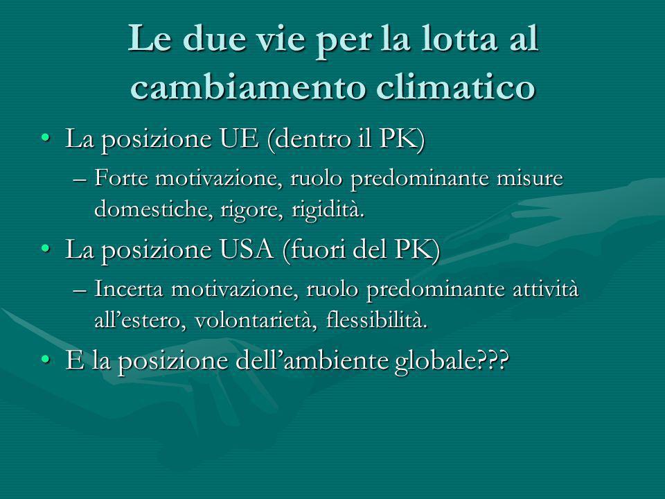 Le due vie per la lotta al cambiamento climatico La posizione UE (dentro il PK)La posizione UE (dentro il PK) –Forte motivazione, ruolo predominante m