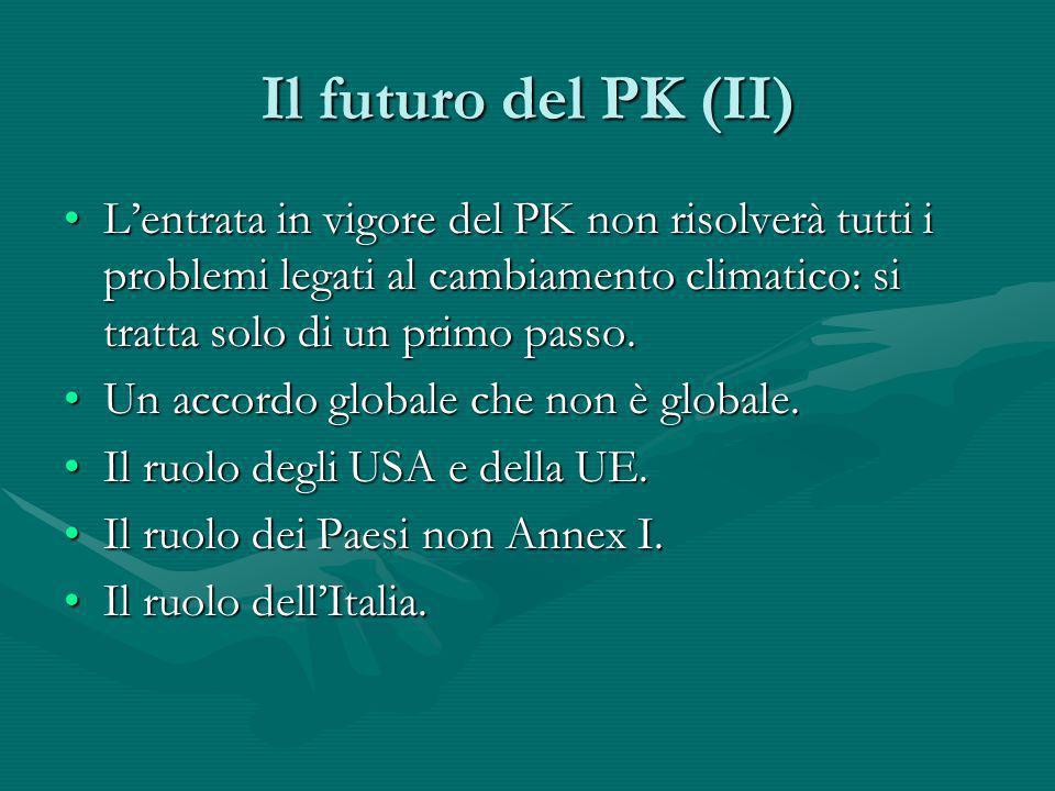 Il futuro del PK (II) Lentrata in vigore del PK non risolverà tutti i problemi legati al cambiamento climatico: si tratta solo di un primo passo.Lentr