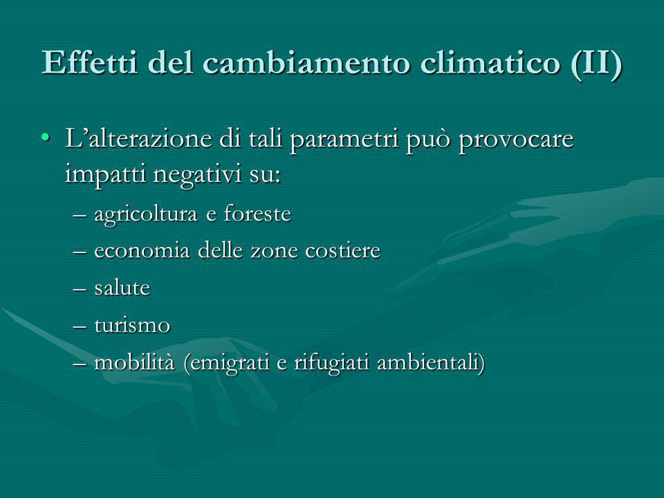 Effetti del cambiamento climatico (II) Lalterazione di tali parametri può provocare impatti negativi su:Lalterazione di tali parametri può provocare i