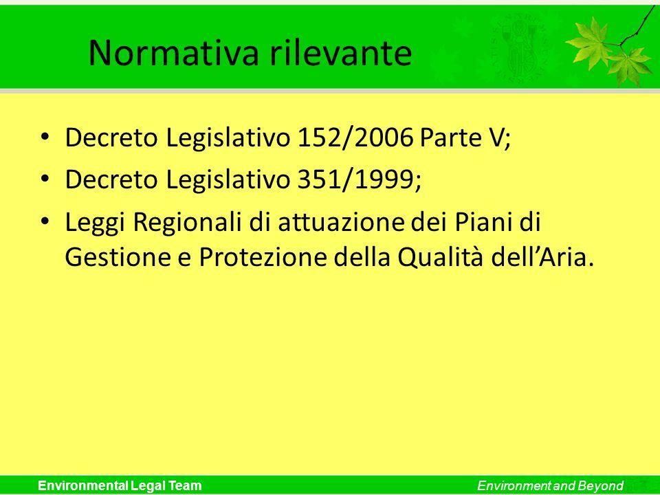 Environmental Legal TeamEnvironment and Beyond Normativa rilevante Decreto Legislativo 152/2006 Parte V; Decreto Legislativo 351/1999; Leggi Regionali di attuazione dei Piani di Gestione e Protezione della Qualità dellAria.