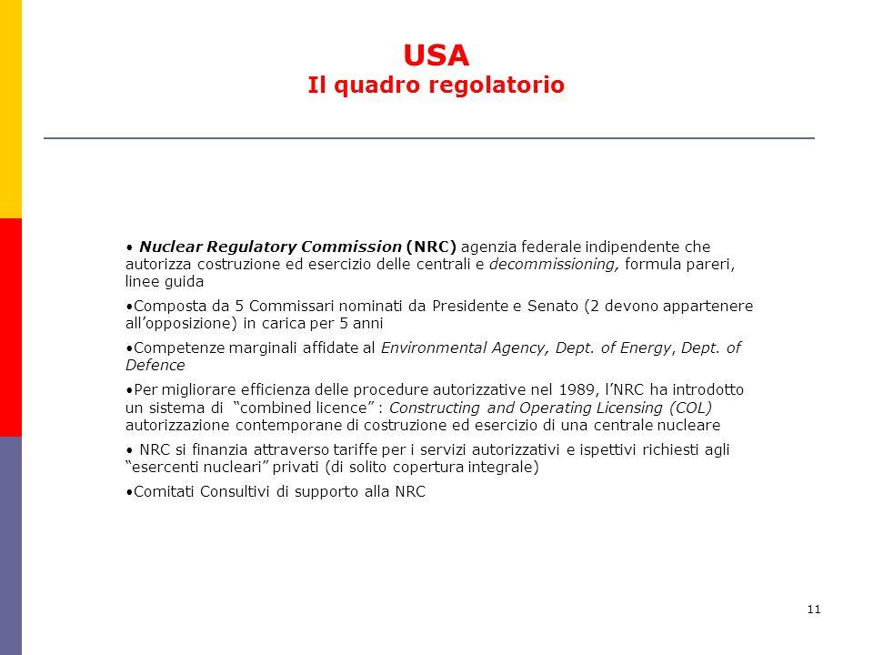 11 Nuclear Regulatory Commission (NRC) agenzia federale indipendente che autorizza costruzione ed esercizio delle centrali e decommissioning, formula