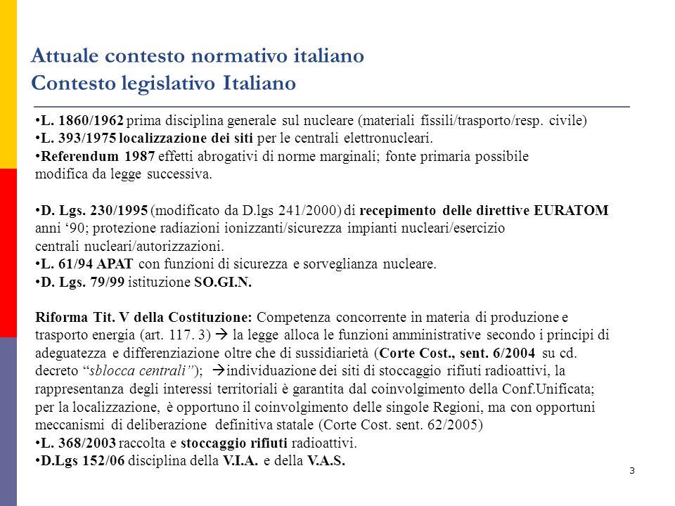 3 Attuale contesto normativo italiano Contesto legislativo Italiano L. 1860/1962 prima disciplina generale sul nucleare (materiali fissili/trasporto/r