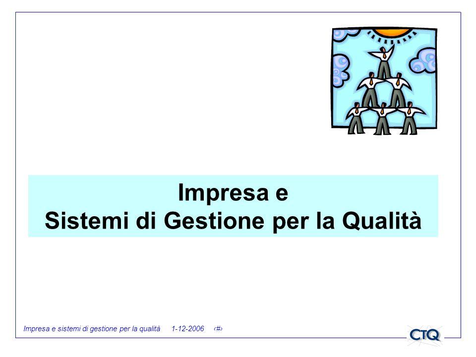 Impresa e sistemi di gestione per la qualità 1-12-2006 1 Impresa e Sistemi di Gestione per la Qualità
