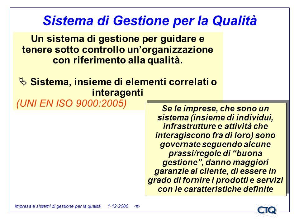 Impresa e sistemi di gestione per la qualità 1-12-2006 12 Sistema di Gestione per la Qualità Un sistema di gestione per guidare e tenere sotto control
