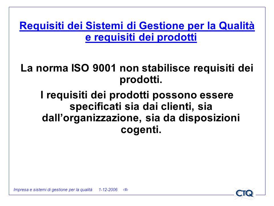 Impresa e sistemi di gestione per la qualità 1-12-2006 17 Requisiti dei Sistemi di Gestione per la Qualità e requisiti dei prodotti La norma ISO 9001