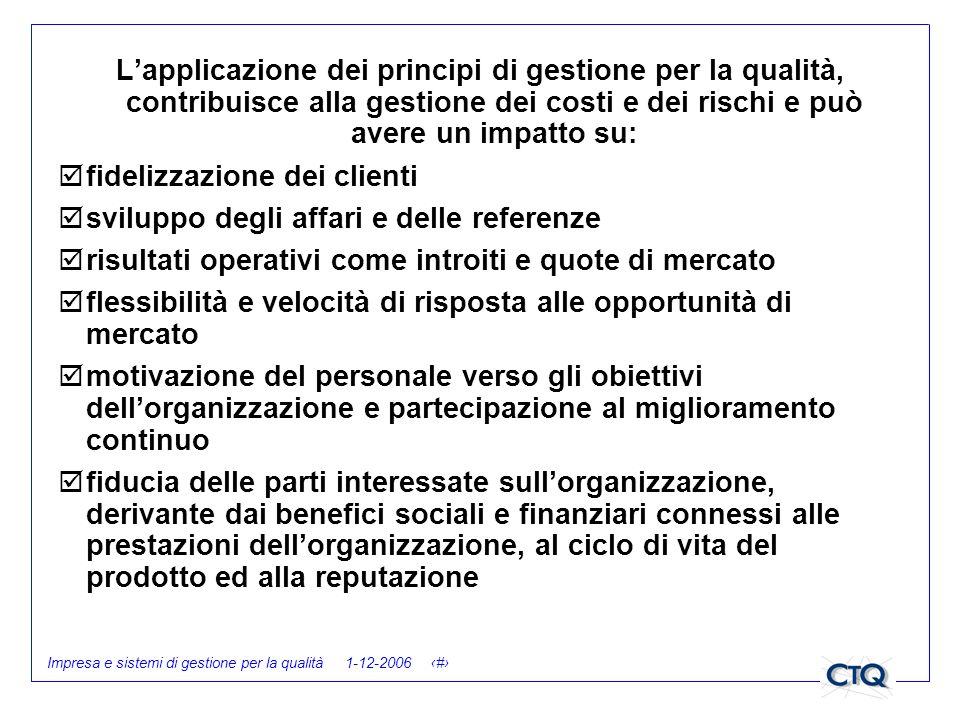 Impresa e sistemi di gestione per la qualità 1-12-2006 25 Lapplicazione dei principi di gestione per la qualità, contribuisce alla gestione dei costi