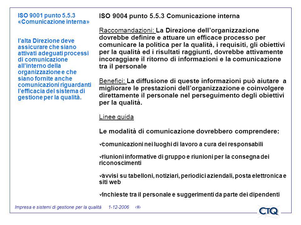 Impresa e sistemi di gestione per la qualità 1-12-2006 26 ISO 9001 punto 5.5.3 «Comunicazione interna» lalta Direzione deve assicurare che siano attiv