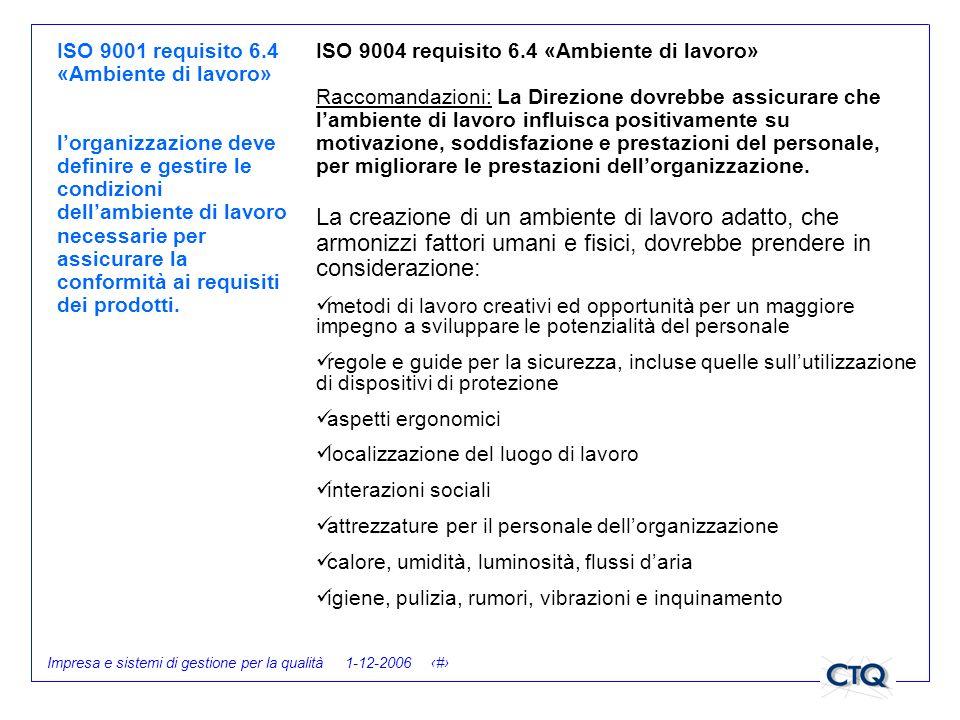 Impresa e sistemi di gestione per la qualità 1-12-2006 27 ISO 9001 requisito 6.4 «Ambiente di lavoro» lorganizzazione deve definire e gestire le condi