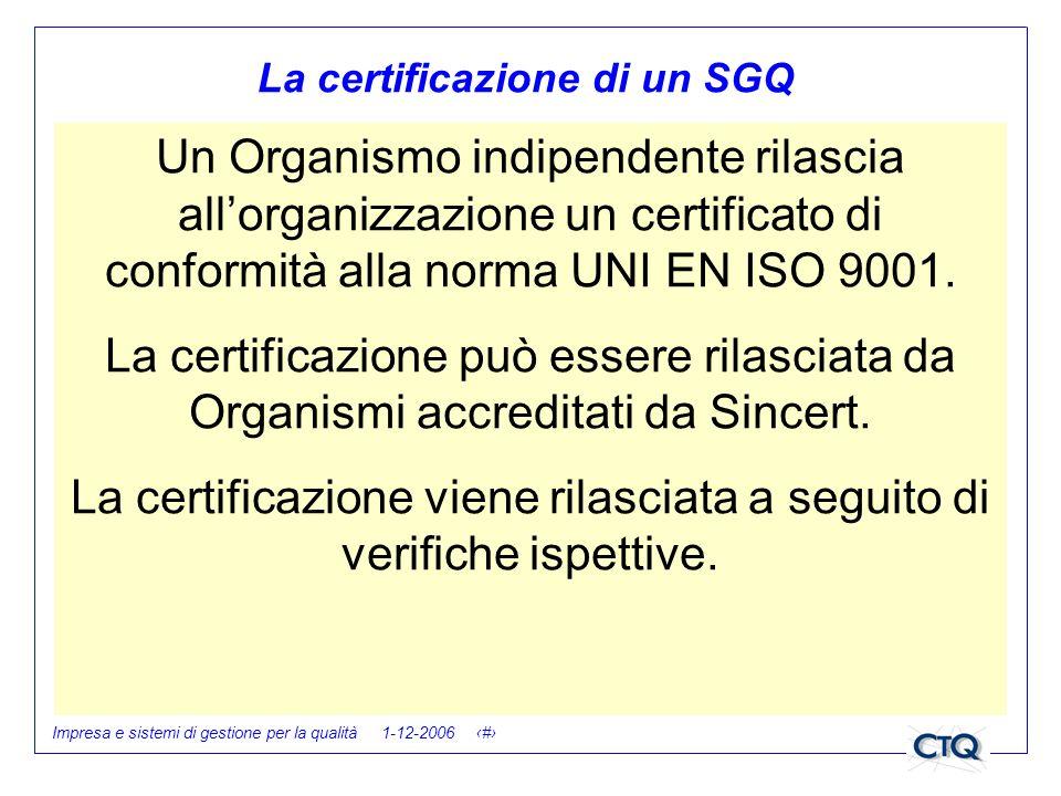Impresa e sistemi di gestione per la qualità 1-12-2006 28 La certificazione di un SGQ Un Organismo indipendente rilascia allorganizzazione un certific