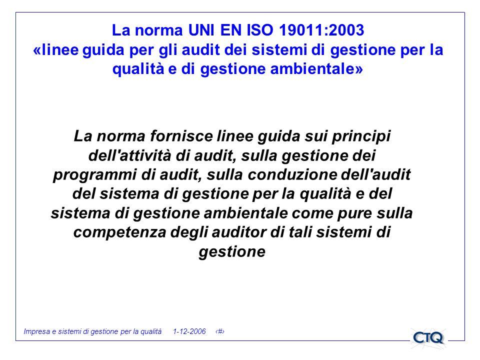 Impresa e sistemi di gestione per la qualità 1-12-2006 29 La norma fornisce linee guida sui principi dell'attività di audit, sulla gestione dei progra