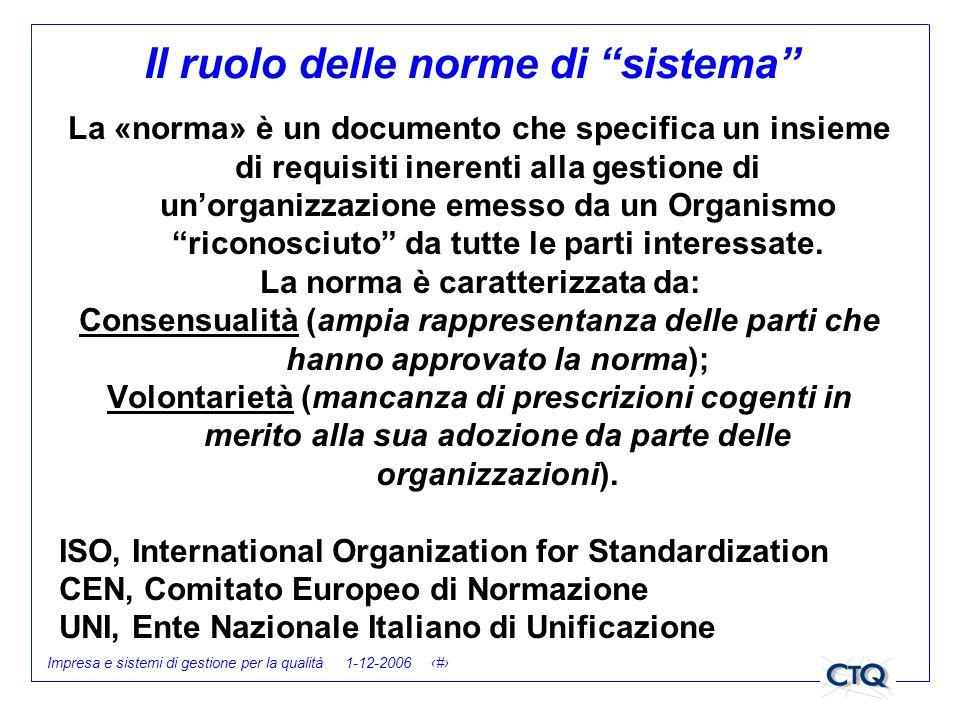 Impresa e sistemi di gestione per la qualità 1-12-2006 5 Il ruolo delle norme di sistema La «norma» è un documento che specifica un insieme di requisi
