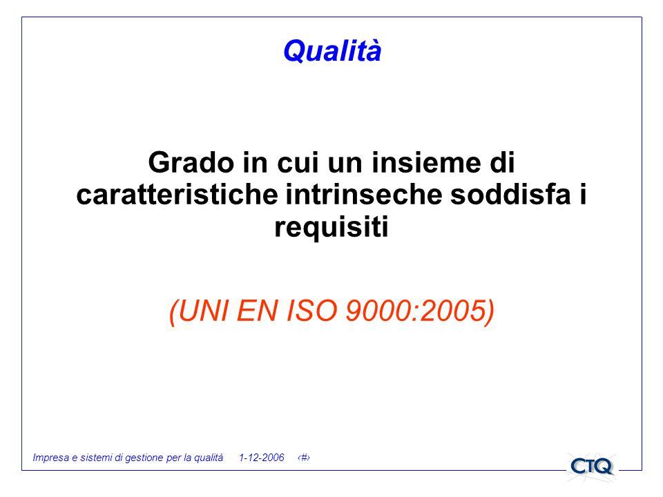 Impresa e sistemi di gestione per la qualità 1-12-2006 7 Qualità Grado in cui un insieme di caratteristiche intrinseche soddisfa i requisiti (UNI EN I