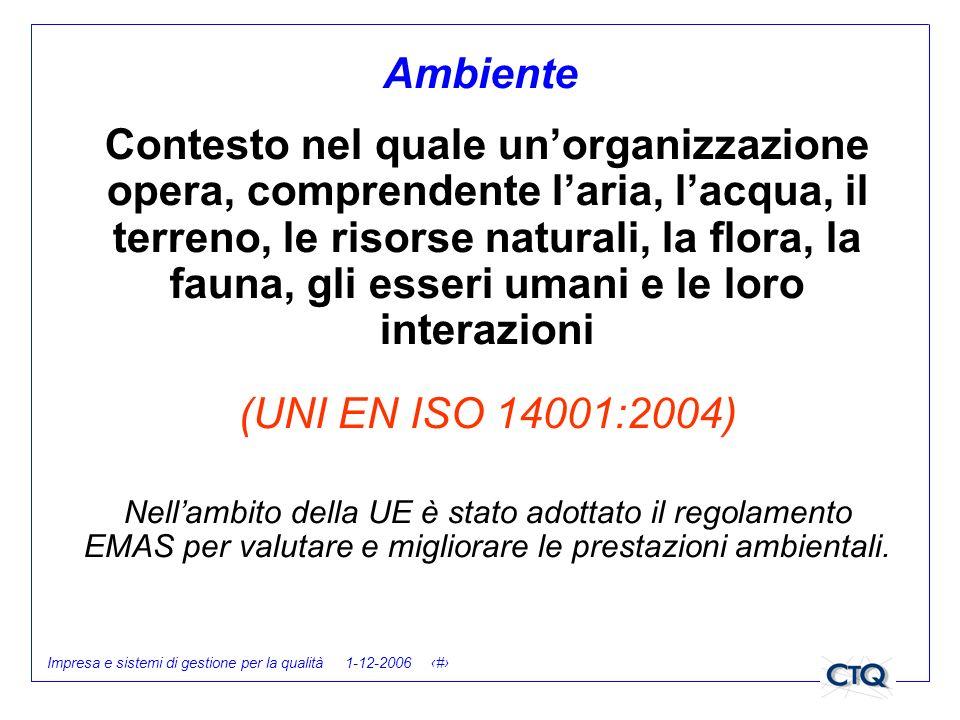Impresa e sistemi di gestione per la qualità 1-12-2006 8 Contesto nel quale unorganizzazione opera, comprendente laria, lacqua, il terreno, le risorse