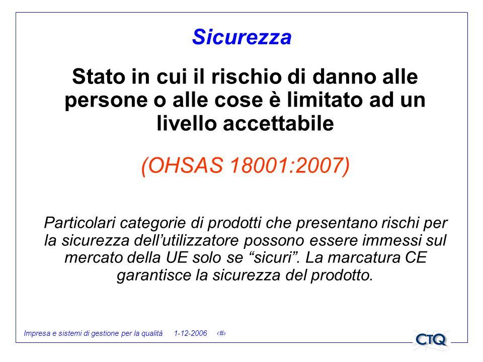 Impresa e sistemi di gestione per la qualità 1-12-2006 9 Sicurezza Stato in cui il rischio di danno alle persone o alle cose è limitato ad un livello