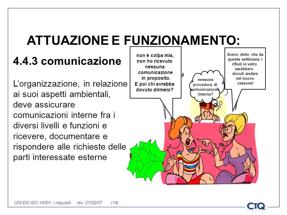 UNI EN ISO 14001: i requisiti rev. 07/02/07 (14) 4.4.3 comunicazione Lorganizzazione, in relazione ai suoi aspetti ambientali, deve assicurare comunic