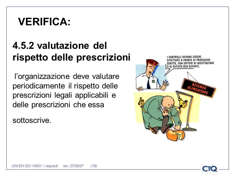 UNI EN ISO 14001: i requisiti rev. 07/02/07 (19) VERIFICA: 4.5.2 valutazione del rispetto delle prescrizioni lorganizzazione deve valutare periodicame