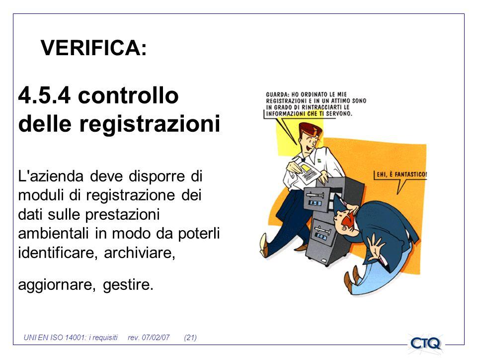 UNI EN ISO 14001: i requisiti rev. 07/02/07 (21) VERIFICA: 4.5.4 controllo delle registrazioni L'azienda deve disporre di moduli di registrazione dei