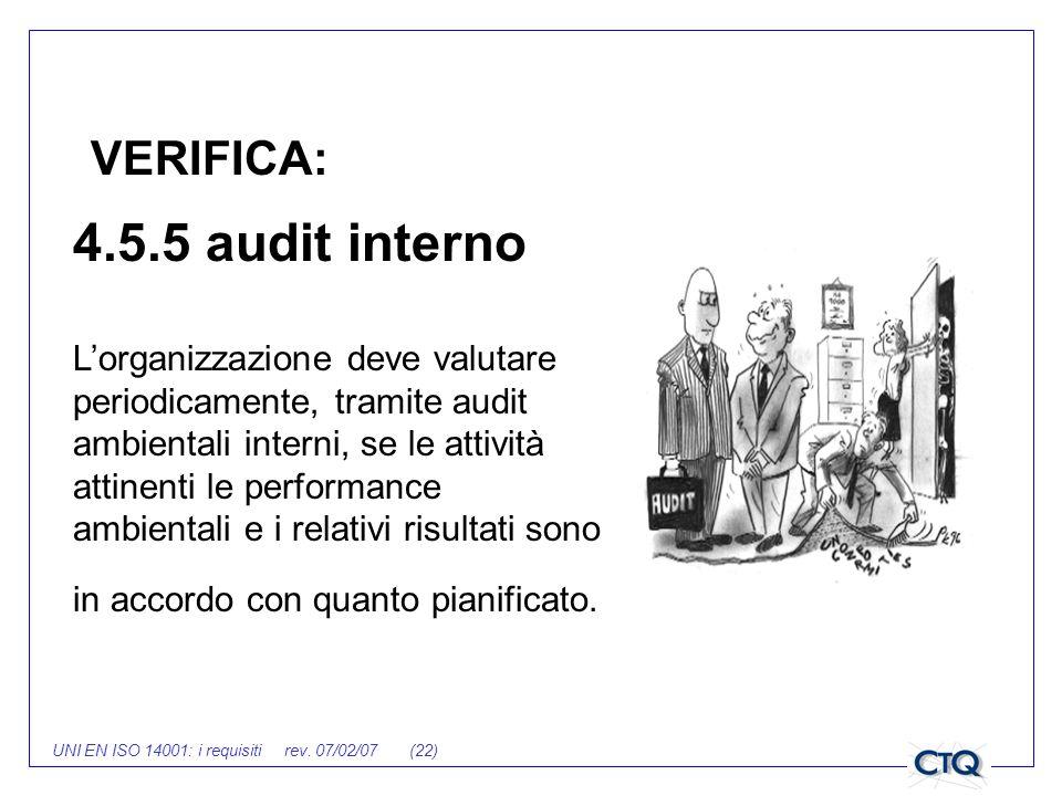 UNI EN ISO 14001: i requisiti rev. 07/02/07 (22) 4.5.5 audit interno Lorganizzazione deve valutare periodicamente, tramite audit ambientali interni, s