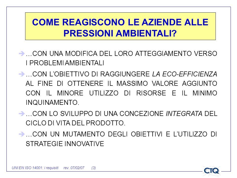 UNI EN ISO 14001: i requisiti rev. 07/02/07 (3) COME REAGISCONO LE AZIENDE ALLE PRESSIONI AMBIENTALI? …CON UNA MODIFICA DEL LORO ATTEGGIAMENTO VERSO I