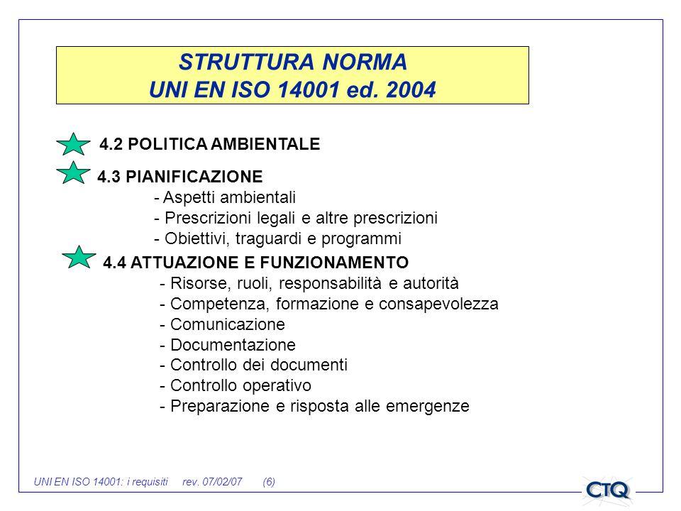 UNI EN ISO 14001: i requisiti rev. 07/02/07 (6) STRUTTURA NORMA UNI EN ISO 14001 ed. 2004 4.2 POLITICA AMBIENTALE 4.3 PIANIFICAZIONE - Aspetti ambient