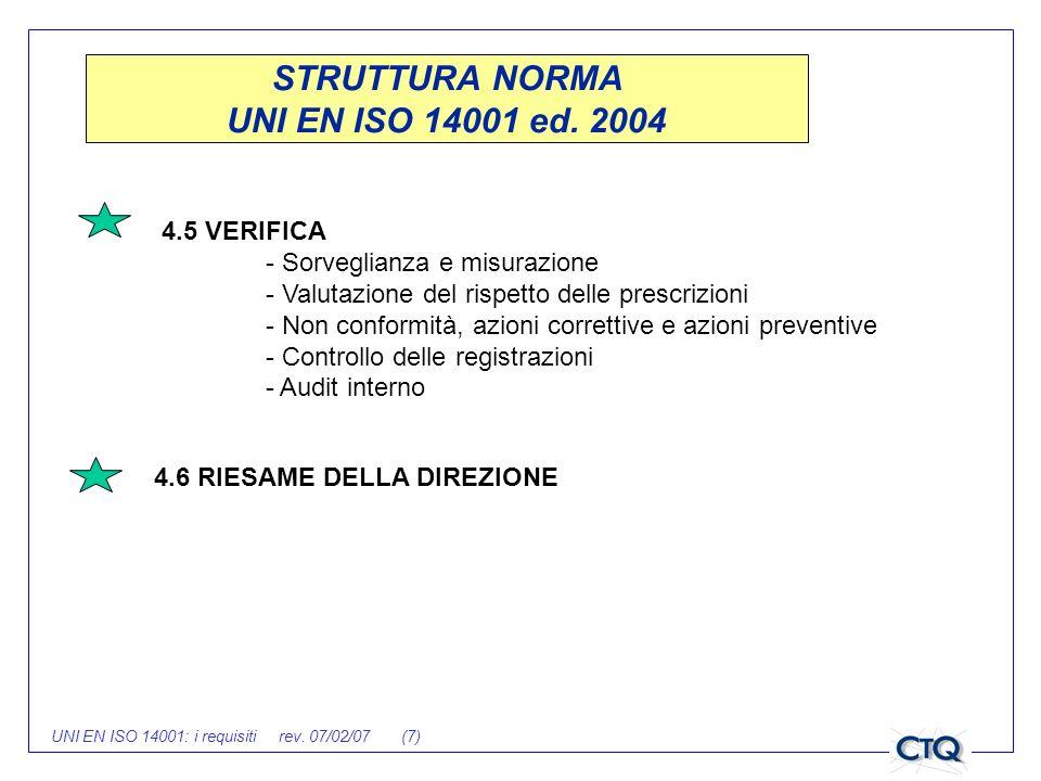 UNI EN ISO 14001: i requisiti rev. 07/02/07 (7) 4.5 VERIFICA - Sorveglianza e misurazione - Valutazione del rispetto delle prescrizioni - Non conformi