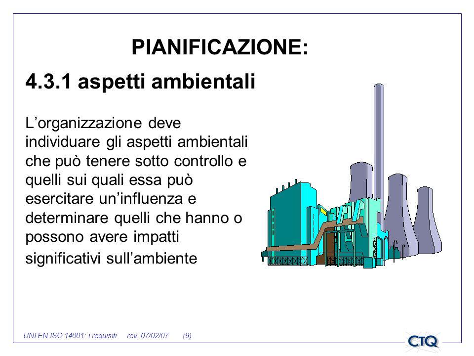 UNI EN ISO 14001: i requisiti rev. 07/02/07 (9) 4.3.1 aspetti ambientali Lorganizzazione deve individuare gli aspetti ambientali che può tenere sotto