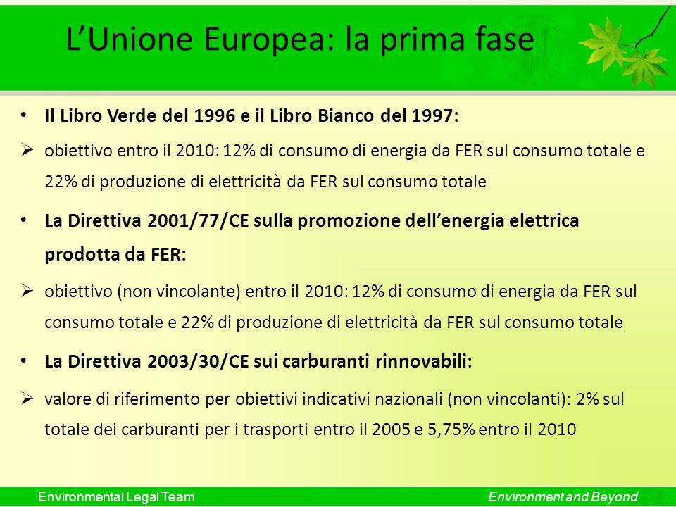 Environmental Legal TeamEnvironment and Beyond LUnione Europea: la prima fase Il Libro Verde del 1996 e il Libro Bianco del 1997: obiettivo entro il 2