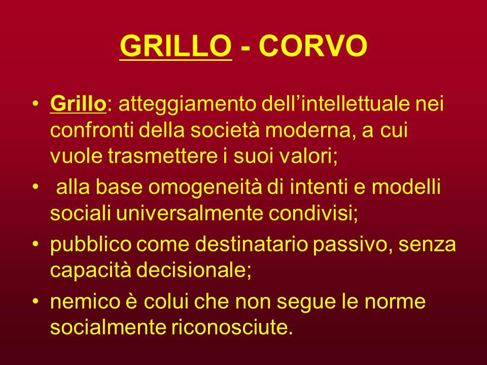 GRILLO - CORVO Grillo: atteggiamento dellintellettuale nei confronti della società moderna, a cui vuole trasmettere i suoi valori; alla base omogeneit