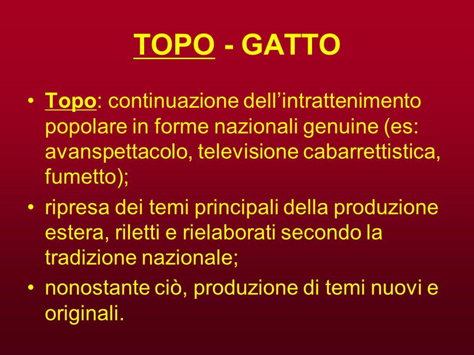 TOPO - GATTO Topo: continuazione dellintrattenimento popolare in forme nazionali genuine (es: avanspettacolo, televisione cabarrettistica, fumetto); r