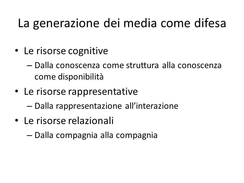 La generazione dei media come difesa Le risorse cognitive – Dalla conoscenza come struttura alla conoscenza come disponibilità Le risorse rappresentative – Dalla rappresentazione allinterazione Le risorse relazionali – Dalla compagnia alla compagnia