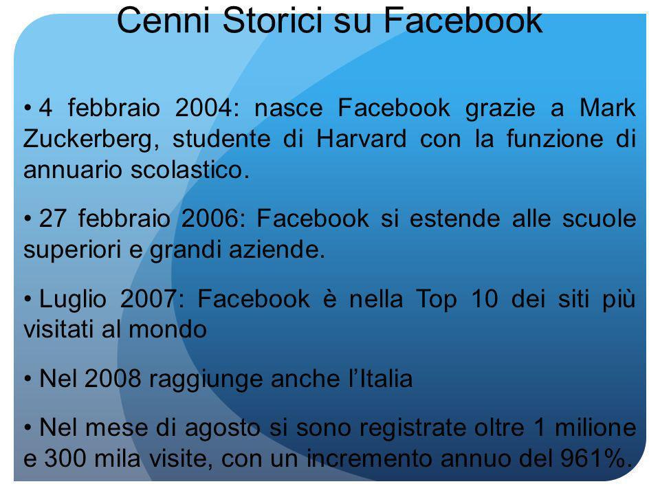 Cenni Storici su Facebook 4 febbraio 2004: nasce Facebook grazie a Mark Zuckerberg, studente di Harvard con la funzione di annuario scolastico.