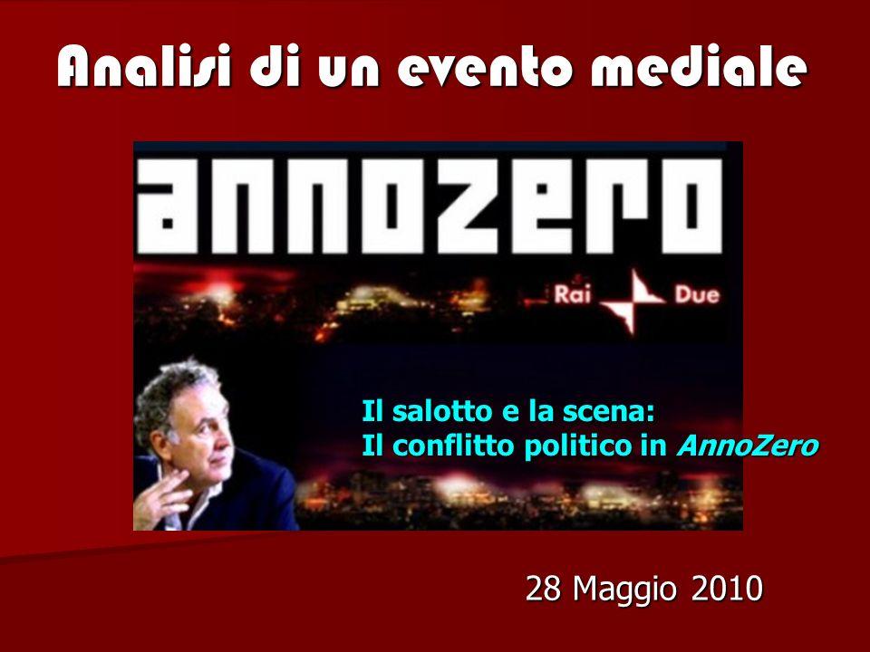 Analisi di un evento mediale 28 Maggio 2010 Il salotto e la scena: Il conflitto politico in AnnoZero