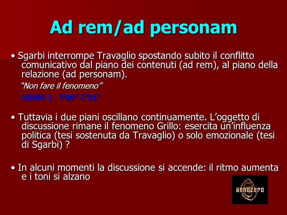 Ad rem/ad personam Sgarbi interrompe Travaglio spostando subito il conflitto comunicativo dal piano dei contenuti (ad rem), al piano della relazione (ad personam).
