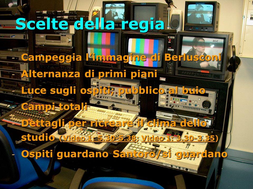 Scelte della regia - Campeggia limmagine di Berlusconi - Alternanza di primi piani - Luce sugli ospiti; pubblico al buio - Campi totali - Dettagli per ricreare il clima dello studio (Video 1: 5.30-5.38; Video 1: 3.30-3.35) - Ospiti guardano Santoro/si guardano