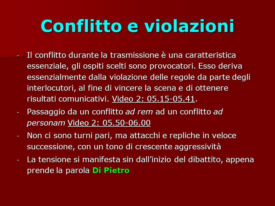 Conflitto e violazioni - Il conflitto durante la trasmissione è una caratteristica essenziale, gli ospiti scelti sono provocatori.