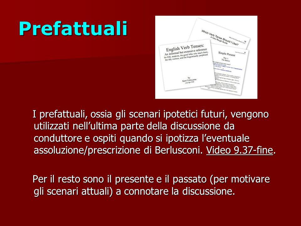 Prefattuali I prefattuali, ossia gli scenari ipotetici futuri, vengono utilizzati nellultima parte della discussione da conduttore e ospiti quando si ipotizza leventuale assoluzione/prescrizione di Berlusconi.