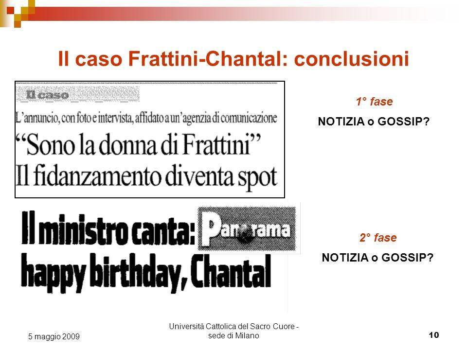 Università Cattolica del Sacro Cuore - sede di Milano 10 5 maggio 2009 Il caso Frattini-Chantal: conclusioni 1° fase NOTIZIA o GOSSIP? 2° fase NOTIZIA