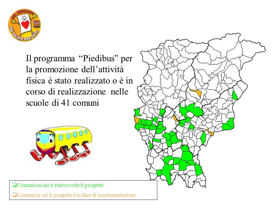 Il programma Piedibus per la promozione dellattività fisica è stato realizzato o è in corso di realizzazione nelle scuole di 41 comuni Comuni un cui è stato svolto il progetto Comuni in cui il progetto è in fase di implementazione