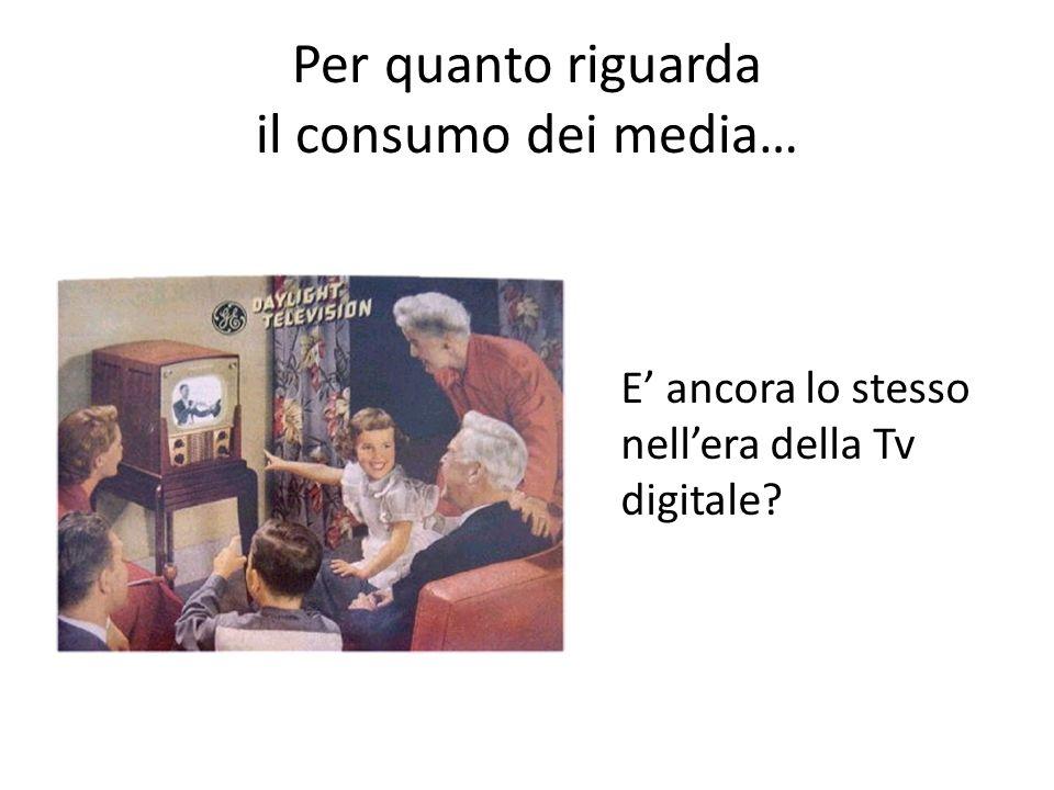 Per quanto riguarda il consumo dei media… E ancora lo stesso nellera della Tv digitale?